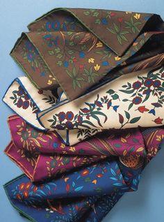 Silk Print Birds of Paradise Pocket Square