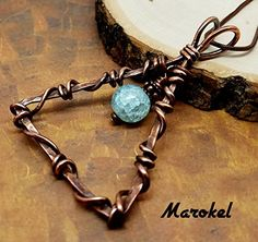 Aquamarine Agate Triangle Necklace Copper Wire Wrapped by marokel Moon Jewelry, Copper Jewelry, Wire Jewelry, Jewelery, Beaded Jewelry, Copper Wire, Wire Pendant, Pendant Jewelry, Artisan Jewelry
