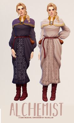 """ Alchemist: a The Sims Medieval outfit conversion by Valhallan  ""  As always, this set wouldn't have been here without the help of the great @zx-ta!  • 6 swatches  • Enabled for alien & occult, for ages teen - elder  • Made for Females, but can be worn..."