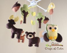 "Baby Crib Mobile - Baby Mobile - Nursery Forest Crib Mobile - ""Forest Little Creatures"" (You can pick your colors) Mobile - Crib Mobile. $85.00, via Etsy."