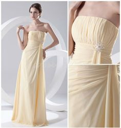 Elegant Strapless Bridesmaids Wedding Party Daffodil