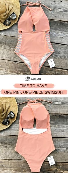 Glamorous Pink One-piece Swimsuit, features halter design and strappy-details at sides. Solid pink makes it so cute! Good quality & comfy feeling are must-have tags! Free shipping! Shop now!