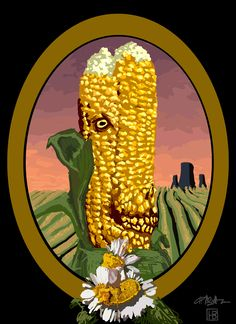 """Holden Better // 1 of 3 """"Thanks, Nuclear Power!"""" // Mutant corn, work in progress. (illustration, deformed, mutated, global warming, vegetables, food, pollution, protest piece, environmental issues)"""