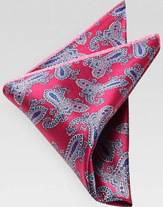 Men's Wearhouse Pink Paisley Pocket Square