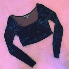 This iridescent crushed velvet #vintage renewed #90s crop top is up for grabs in our new arrivals!