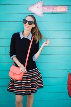 Pair a striped skirt with a ribbed sweater + chambray top for a pretty, girly look. Basic Outfits, Hot Outfits, Pretty Outfits, Summer Outfits, Cozy Fashion, Autumn Fashion, Blue Oxford Shirt, Chambray Top, Casual Elegance