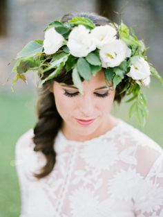 Vine covered floral crown: http://www.stylemepretty.com/2014/11/14/texas-summer-destination-workshop-shoot-at-cibolo-creek-ranch/ | Photography: Ryan Ray - http://ryanrayphoto.com/