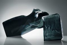 Czech Glass Art /// Jan Fišar - Object: The Sketch - Slumped glass with imprint, partially cut and polished /// czech-glassart.com