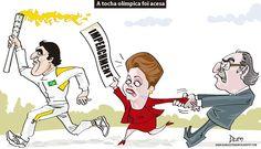 Charge do Dum fazendo um elo entre o desejo da Dilma em colocar um fim ao processo de Impeachment e a chegada da tocha olímpica ao Brasil (22/04/2016). #Charge #Dum #Olimpíadas #Impeachment #Cunha #Dilma #Tocha #HojeEmDia