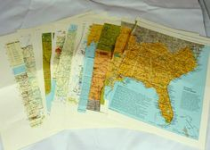 Vintage maps 25 book pages collage mixed media ephemera  on clearance great for collages, scrapbooks or journals