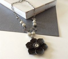 Silver, Crystal, Pearls, Lotus Flower Pendant Necklace on Etsy, $20.00