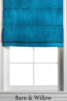 Velvet Pleated Roman Shades in Teal Custom Roman Shades, Garage Storage Solutions, Blinds Design, Custom Windows, Blinds For Windows, Window Coverings, Barn, Teal, Velvet