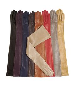 Italian Silk Lined Opera Leather Gloves - 16-Button Length