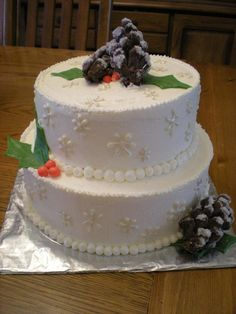 pine cone winter wedding shower cake