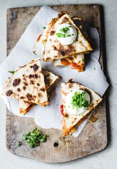 These Apricot Salsa Quesadillas look good, but click through and you'll find 21 quesadilla recipes, including one with jerk chicken and another with caramel and apples. It might just be a quesadilla week in this household. Think Food, I Love Food, Food For Thought, Good Food, Yummy Food, Tasty, Gourmet Sandwiches, Quesadilla Recipes, Breakfast Quesadilla