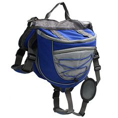 LIANGSM Dog Backpack Pet Adjustable Saddle Bag Harness Carrier for Traveling Hiking L Blue ** You can find more details by visiting the image link.