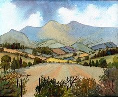 Watercolour Print The Brecon Beacons by Pamelajonesartstudio, £5.95
