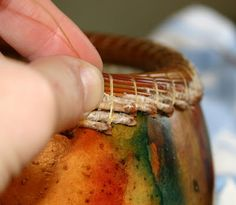 Vickie Henderson Art: Coiled Pine Needle Rim on Gourd -- Coiling Tutorial