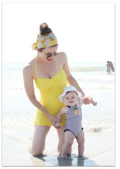 yellow retro polka dot swim suit  Tracey, you and Faith would be adorable in these swimsuits!  @Tracey Torres-Skare