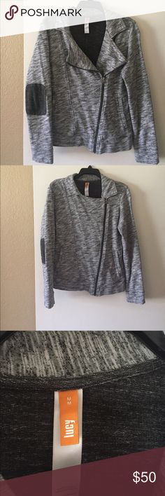 Lucy Activewear Jacket This beautiful jacket is like new, 100% cotton motto jacket, heather grey w/dark patches on the elbow. It will surely turn heads. Lucy Jackets & Coats
