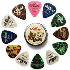 [Visit to Buy] 12 pcs Thin & Medium Colorful Celluloid Acoustic Guitar Picks in a Cute Mini Metal Tin Box - Alice A011C #Advertisement