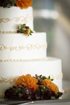 Orange Fall Wedding Cake