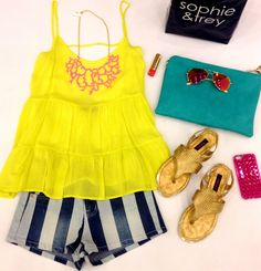 It's electric⚡️boogie down cause it's almost friday!!! Striped Shorts ($24.99) coral necklace ($16.99)- #4thandocean in-store only! Lime cage tank ($22.99) bag ($24.99) sandals ($22.99) phone case ($12) aviators ($9.99) shop it now online at www.sophieandtrey.com! #ootd #electric #bright #sophieandtrey