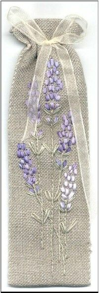 .Burlap handcrafted bag for lavender or wine gift giving