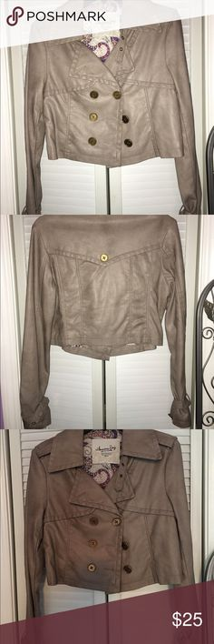 Faux leather jacket Gray/ beige faux leather jacket. Never been worn. American Rag Jackets & Coats