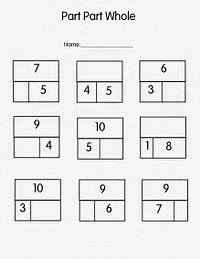 Part Part whole Worksheet. 30 Part Part whole Worksheet. Part Part whole and March Printables Math Classroom, Kindergarten Math, Teaching Math, Classroom Procedures, Classroom Ideas, First Grade Math Worksheets, Second Grade Math, Grade 1, Number Worksheets