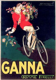 Vintage Italian Posters ~ #illustrator #Italian #posters ~ Achille Luciano Mauzan, Gomme Pirelli Ganna, 1923