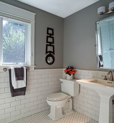 White subway tile with grey grout for shower walls