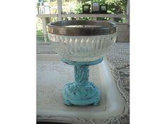 repurposed pedestal dish  Tiffany blue crystal