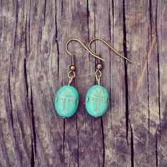 Turquoise Scarab Gold Inlay Earrings only $19.99 on Etsy. :)
