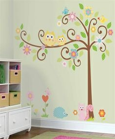 Owls on a Tree Wall Decals for Kids Rooms - Owl-themed Nursery - Owl Nursery Decor - Removable Wall Decals for Decorating Nursery, Kids Room...
