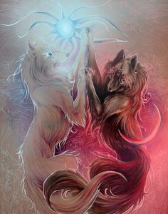 Wolf art, If someone know the Artist, all credit goes to him/her Anime Wolf, Cute Animal Drawings, Cute Drawings, Fantasy Wolf, Fantasy Art, Fantasy Creatures, Mythical Creatures, Mythological Creatures, Wolf Wallpaper