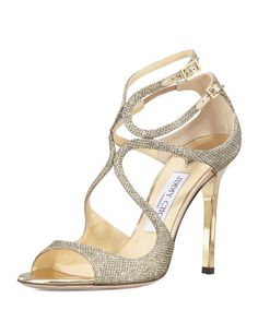 Jimmy Choo	 Lang Glittered Strappy Sandal, Pewter $795