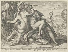 Rechtvaardigheid en Voorzichtigheid (Justitia / Prudentia), Hendrick Goltzius, 1580 - 1584