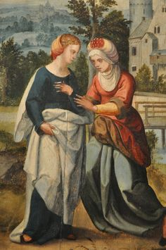Altarpiece showing scenes from Christ's life  (this scene: The Visitation).  Unknown Flemish artists, 1535