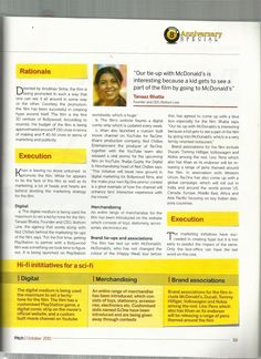 Ms @Tanaaz Bhatia Founder and MD Bottomline Media featured in the article RaOne Aggressive Marketing in the #Pitch Magazine