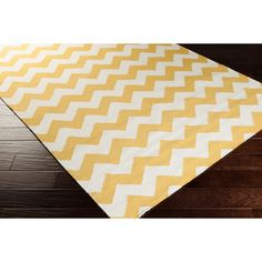 @Overstock.com - Hand-woven Sandy Chevron Golden Yellow Wool Rug (5' x 8') - Bring a cheery touch to your floor with this nautically styled hand-woven wool rug. This rectangular rug features a yellow-and-white zigzag pattern in a flat-weave design that will soften up your floor while adding color and fun to your room.  http://www.overstock.com/Home-Garden/Hand-woven-Sandy-Chevron-Golden-Yellow-Wool-Rug-5-x-8/7637271/product.html?CID=214117 $182.69