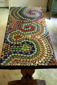 Surely, a bottle cap tabletop is needed on some garage/mancave surface... SoCal Girl Meets NorCal Boy