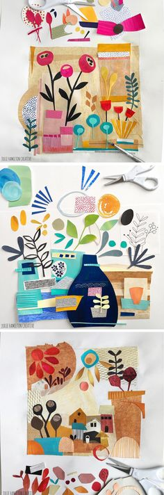 Sketchbook collages by Julie Hamilton // cut paper collage
