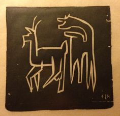 "Original woodcut by Ernst L. Kirchner. ""Two Goats"""