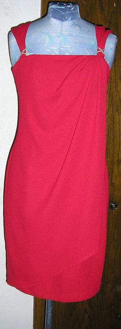 80s red cocktail dress wrap front crepe by ChloeandNatalieVtg, $69.00