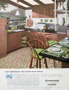 1957 Armstrong Floors Ad - Pebblestone Pattern - Retro Kitchen Decor - Lime Green Wood - 1950s Midcentury Pendant Light - Vintage Home Ad