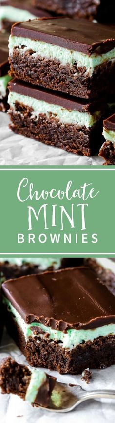 Thick and fudgy brownies layered with sweet mint frosting and easy chocolate ganache. Classic mint chocolate brownies recipe on sallysbakingaddic. Easy Chocolate Ganache, Chocolate Mint Brownies, Chocolate Desserts, Fudgy Brownies, Fun Desserts, Delicious Desserts, Dessert Recipes, Chocolate Chocolate, Bar Recipes