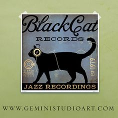 Black Cat Records album inspired artwork original graphic illustration signed archival artists print giclee by Stephen Fowler