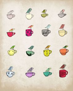birds and cups