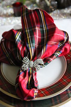 Tartan place setting with a fun rhinestone napkin ring holder.